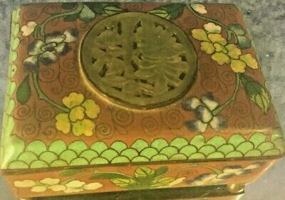 #19c Qing D Chinese natural Stone Jade carved Jade box bronze medallion Jade*