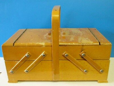Vintage Strommen Bruk Hamar Norway Wood Accordion Fold-Out Sewing Box Chest