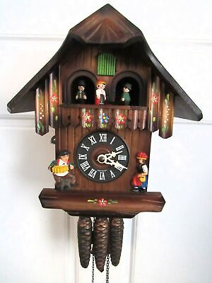 Vintage Musical Mechanical Black Forest Cuckoo Clock with Dancers.