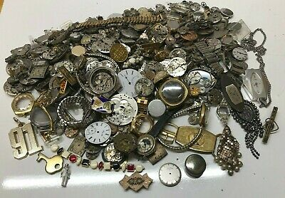 6 Pounds Of Watch Cases & Other Watch Items, Gold Filled? - STEAMPUNK/ART !!!