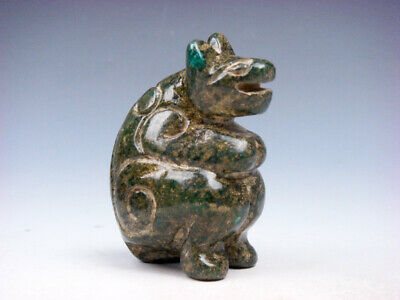 Old Nephrite Jade Stone Carved Sculpture Ancient Dragon Head Monster #08061907C