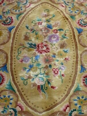 Auth: Antique Art Deco Nouveau Chinese Rug Hand Made Golden Wool Floral 11x14 NR