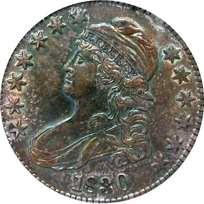 1830 Capped Bust Half, Plenty of Sweet Golden-Green & Rose Toning, PQ, PCGS AU55
