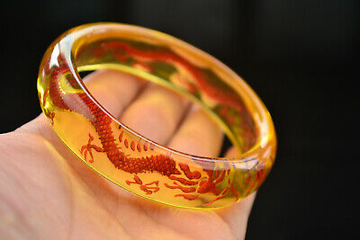 Old Collectables Amber Style Internal Engraving Dragon Bracelet Gift Only One