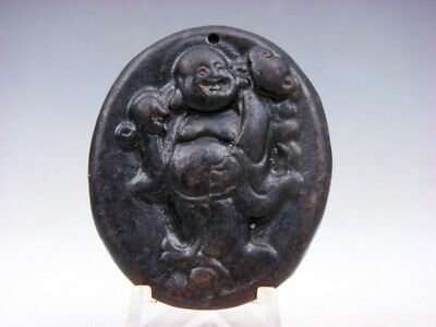 Old Nephrite Jade Hand Carved *Laughing Buddha Blessing Ru-Yi* Pendant #09161810