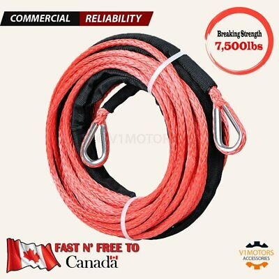 "50' 1/4"" Synthetic Winch Rope EXTENSION 7,500 lbs RED Line Steel Thimble Eye"
