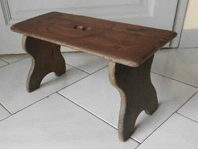 1930s French Vintage OAK wood  Hand Made foot STOOL