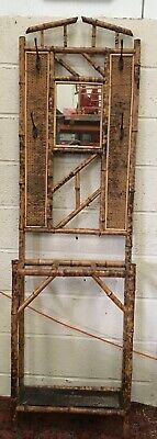 Vintage Antique Bamboo Hall Coat hat umbrella stand mirror rattan Aesthetic