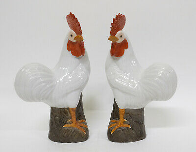 Pair Antique late 19th century Chinese Export Porcelain Bird Figures of Chickens