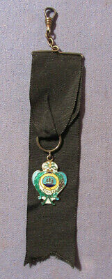 Antique 1890S Bahamas Sterling Silver & Enamel Watch Chain Watch Fob
