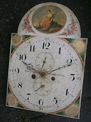 8 DAY 13X18 INCH LONGCASE CLOCK DIAL AND MOVEMENT C1820 signed George Nessbitt,
