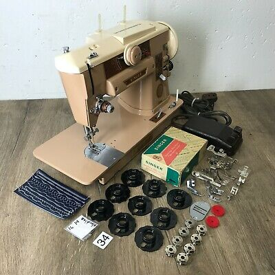 1959 Singer 401A Sewing Machine Heavy Duty Serviced Works Perfect Embroidery Cam