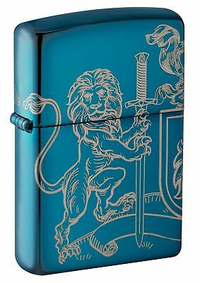 Zippo 49126, Medieval Coat of Arms Design, High Polish Blue Lighter, 2-Sided