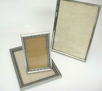 Vintage Silver Picture Frames Lot of 3 Easel Back or Hang Metal and Wood