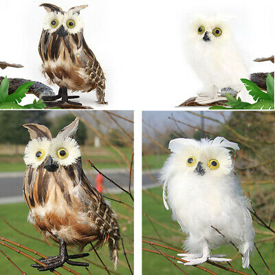 Simulation Owl Lawn Gift Standing Realistic Artificial Feather Figurine Ornament