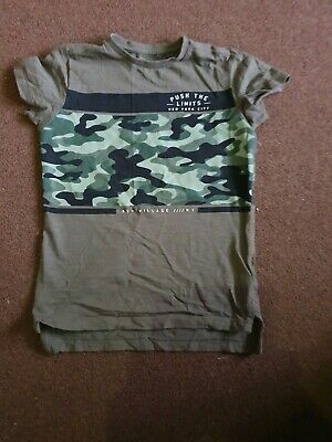 Boys khaki green & camouflage short sleeved T-Shirt by Next age 5 yrs
