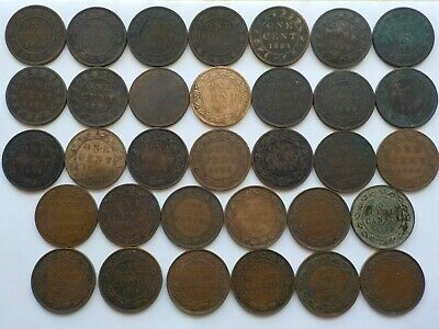 Lot of 33 - Canadian Large Pennies - 1859 1876 1881 1882 1884 1887 1888 1891  &