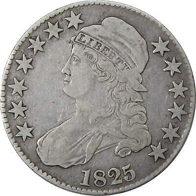 1825 50c Capped Bust Silver Half Dollar Coin F Fine