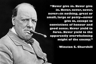 NEVER GIVE UP historic quote photo poster WINSTON S. CHURCHILL leader 24X36