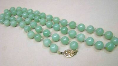 Estate Chinese Jade Beads Necklace w Filigree Silver Clasp #4