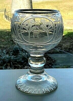 Antique Cut Crystal Glass Heavy Chalice Schooner Goblet Elephant Deer Hunt Scene