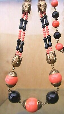 Long, Chunky, Very Stylish, Vintage, Neiger Art Deco Metal & Glass Bead Necklace