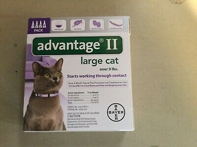 Bayer Advantage Ii Flea Control For Cat Over 9 Lbs 4 Pack- 4 Month Supply New