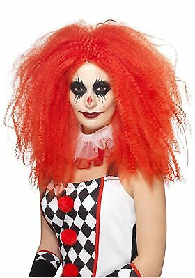 Red Crimped Clown Wig Women's