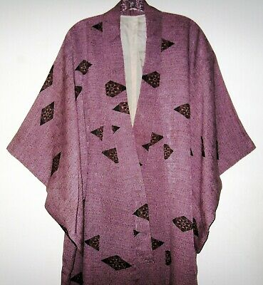 Traditional Japanese Handmade Full Length Mauve Print Silk Kimono