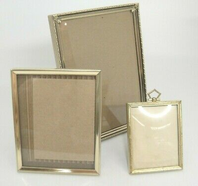 Vintage Gold Metal Picture Frames with Glass Lot of 3 Various Sizes Easel Back