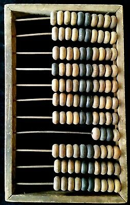 OLD PRIMITIVE ANTIQUE WOODEN ABACUS BEADED WIRE COUNTER  HAND MADE signed