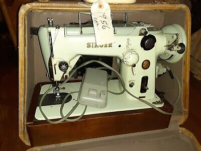 Vintage Singer Sewing Machine, Pistachio Green with cords and foot pedle.