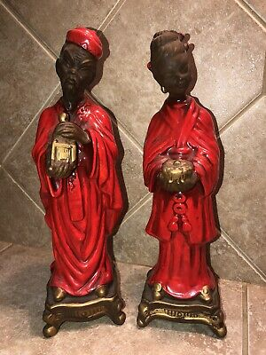 Vintage Asian Oriental Far East Figurines Man And Woman Glossy Red Robes - Rare!