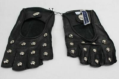 ASPINAL OF LONDON Ladies Studded Leather Fingerless Black Gloves Size 6.5 NEW