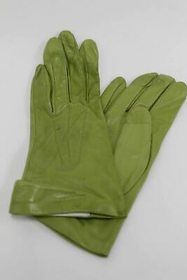 ASPINAL OF LONDON Ladies 100% Silk Lined Pastel Green Soft Leather Gloves 7 NEW