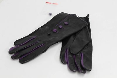ASPINAL OF LONDON Ladies Black Leather Purple Accent Button Up Gloves 7.5 NEW