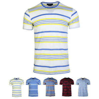 Mens' 2020 Summer New Short-sleeved Tee Casual Stripe Cotton Round Neck T-shirt