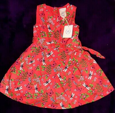 NEW Toddler Girls Pretty Butterfly & Dragonfly Floral Red Dress Age 3 - 4yrs