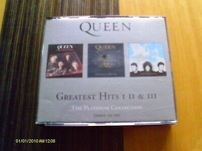 CD x 3 - QUEEN - GREATEST HITS I II III 1 2 3 WITH BOOKLET - PLATINUM - PLAYS EX