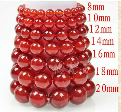 Pretty Genuine Asian Jewelry Natural Agate Jade Beads Stretchy Bracelet 8-20mm