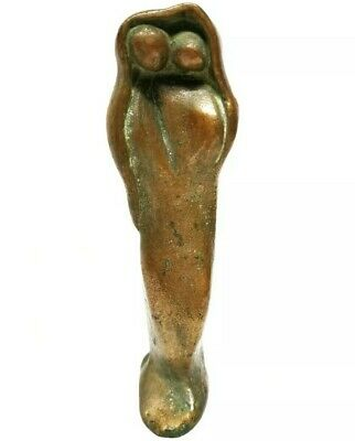 Antique Abstract Brass Statue Two Figures Under Cloak Poss Mother And Child 8.5""