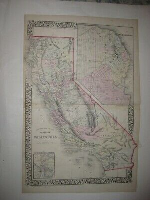 Large Antique 1872 California San Francisco Mitchell Dated Map Los Angeles Rare