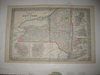 Antique 1872 New York & City Mitchell Handcolr Map Albany Buffalo Troy Rochester