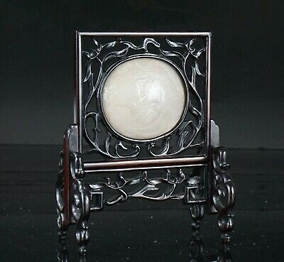 FINE! Chinese Antique Carved White Jade Buddhist Lion HONGMU Table Screen Plaque
