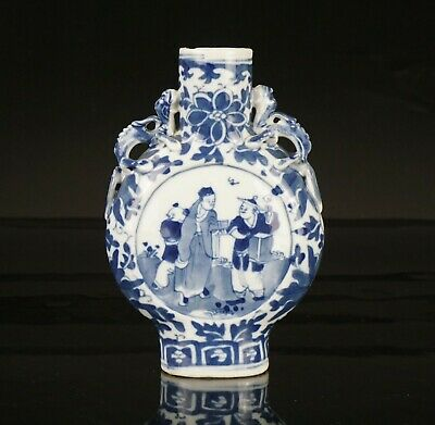 Antique Chinese Blue and White Porcelain Moonflask Vase 19th C QING