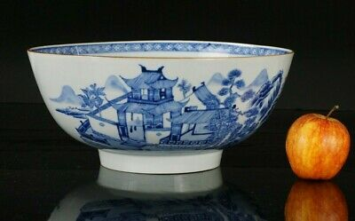 LARGE Chinese Antique Blue and White Porcelain Punch Bowl 18th C QIANLONG