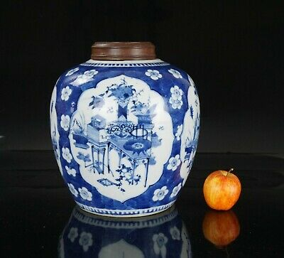VLARGE Antique Chinese Blue and White Prunes Blossom Porcelain Ginger Jar & Lid
