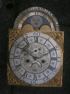 C1740 8 day LONGCASE GRANDFATHER CLOCK MOONPHASE DIAL+movement 12x16+1/2 inch
