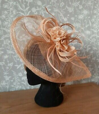 Nude fascinator with clip and headband fixing for wedding, races