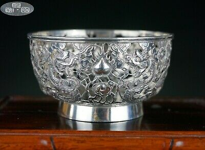 FINE Antique Chinese Solid Sterling Silver Dragon Bowl Hallmarked 19th C QING